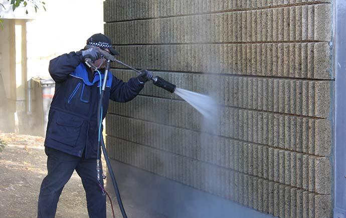 Wasserstrahlung Rieder Lärmschutzwand