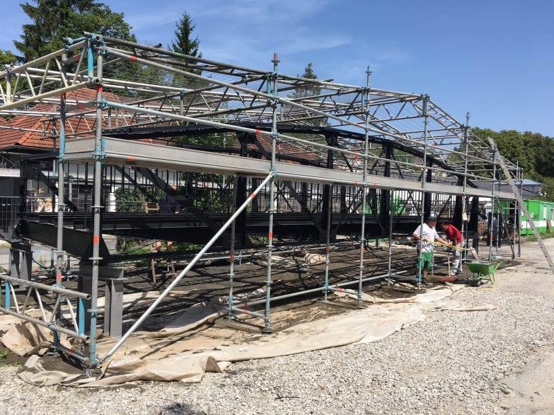 Gerüstaufbau Gaswerkbrücke Steyr